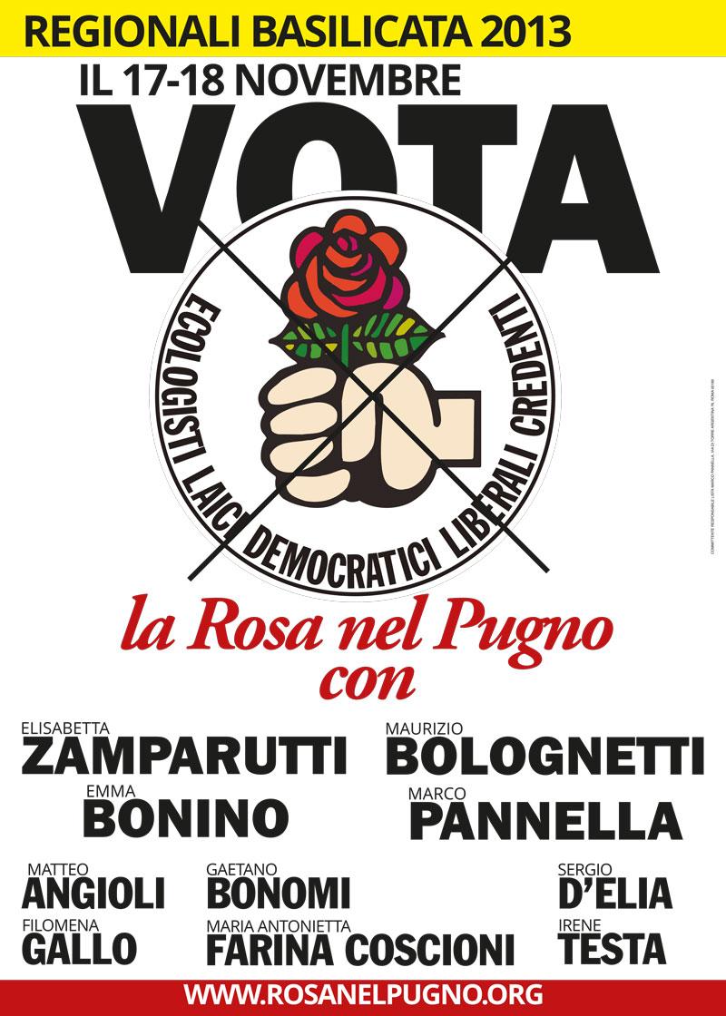 manifesto rosa nel pungo regionali basilicata - piano alto